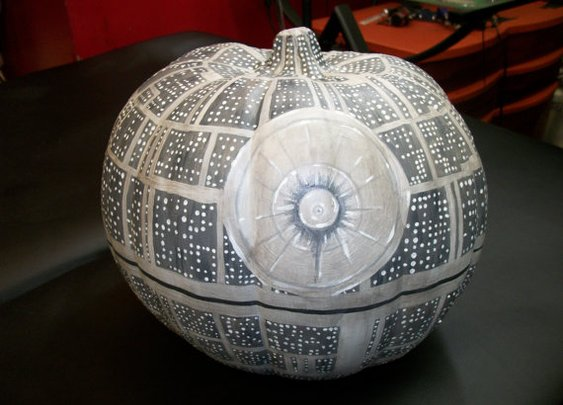Death Star styled fake pumpkin- UV reactive & glow-in-the-dark details