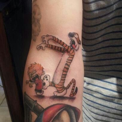 Calvin and Hobbes Zombie Tattoo