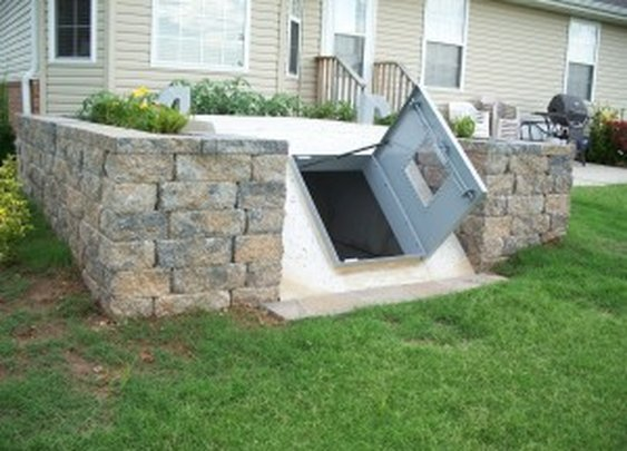 Underground Storm Shelter Entrance in Landscaping