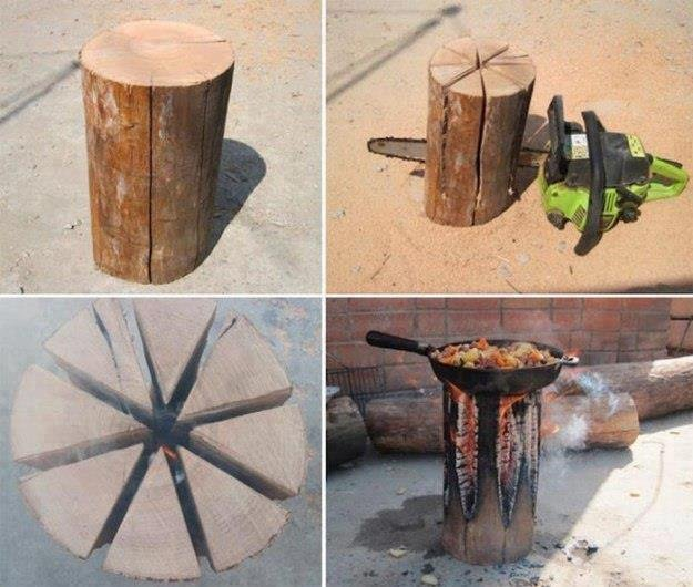 Cooking with one log and one chainsaw