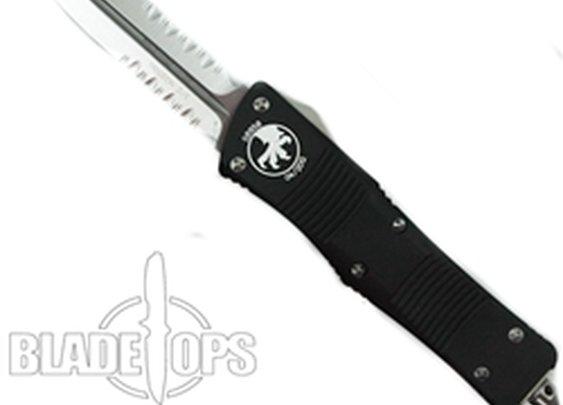 Microtech Troodon Double Edge OTF Knife , Satin Dual Part Serrated Edges, 138-5