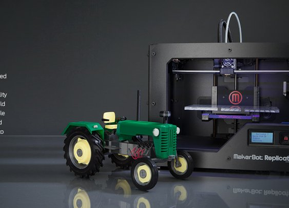 The Makerbot Replicator makes plastic 3d models from computer layouts.