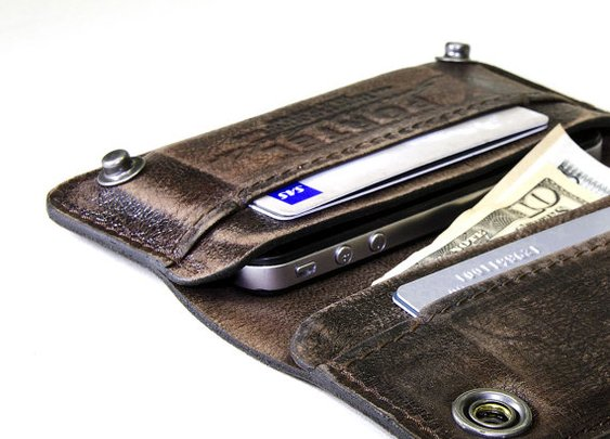 Aged leather wallet by Portel (EE)