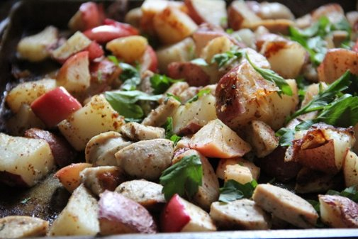Maple Dijon Potatoes with Apples & Chicken Sausage - Alaska from Scratch