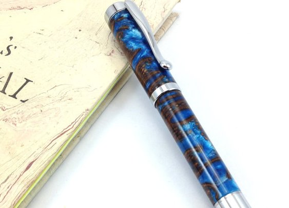 Rollerball Pen Turned from Blue Swirl Banksia by DesignedTurning
