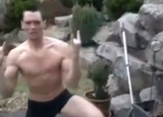 Man attempts cannonball into frozen swimming pool