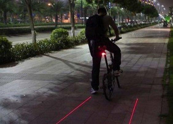 Laser Tail Lights Create a Virtual Bicycle Lane