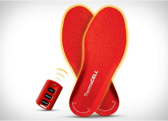Remote controlled heated shoe insoles