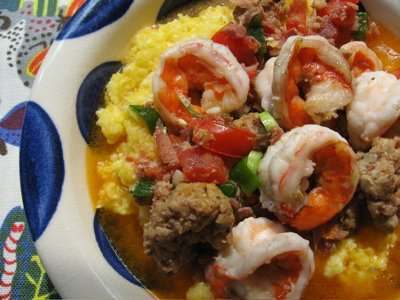 S.N.O.B.'s Spicy Shrimp and Grits with Country Ham, Tomato and Cayenne