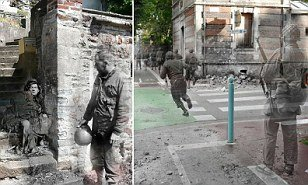 Ghosts of war: Artist superimposes World War II photographs onto modern pictures of the same street scenes  | Mail Online