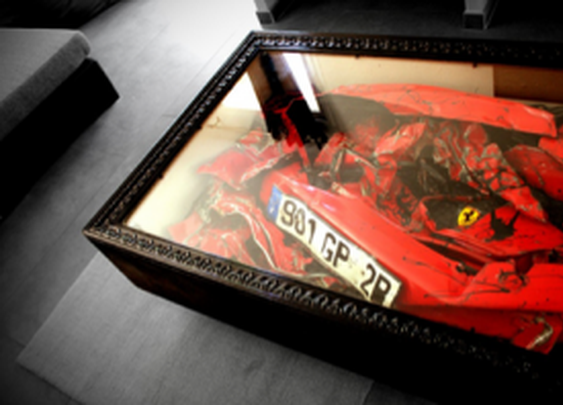 Totaled Ferrari Turned Coffee Table