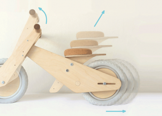 B'kid is a wooden bike that grows with your child
