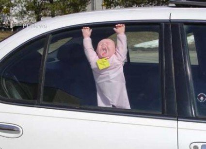 Instead of using a 'baby on board' sign, use a dummy baby.