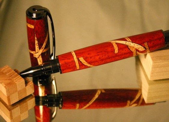 Wood Pen: red rollerball pen with random rays by Hope & Grace Pens