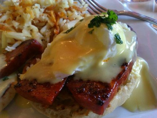 A spicy take on Eggs Benedict.