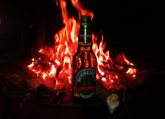 I love drinking by the fire on a cool night.