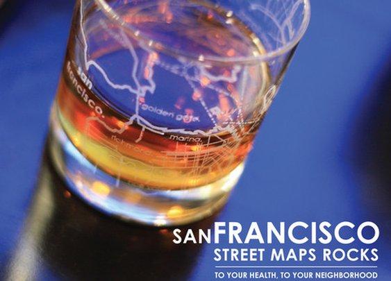 Maps Rocks Glass