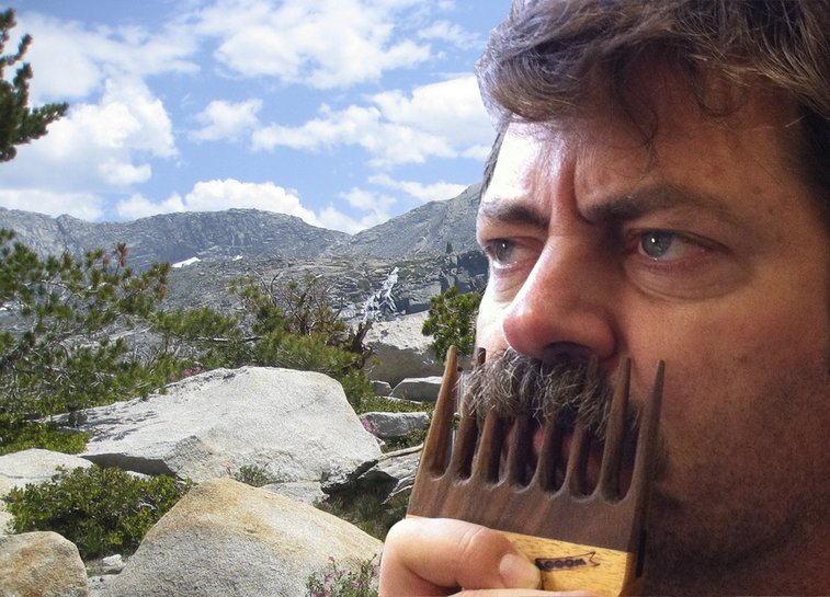 Official Offerman Woodshop mustache comb. Hand carved.