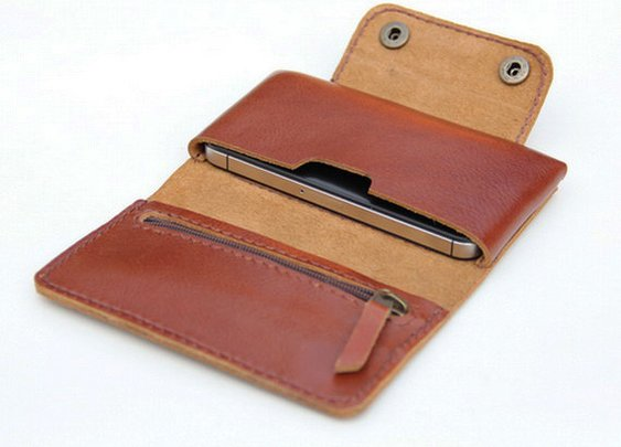 Leather  iPhone wallet case in Tan Brown   with by BluePetalz