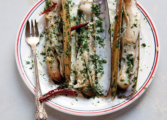 Razor Clams with Chiles and Garlic (navajas al ajillo) Recipe - Saveur.com