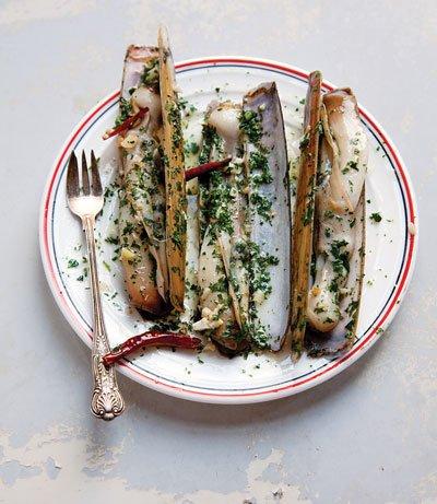 Razor Clams with Chiles and Garlic (navajas al ajillo) Recipe - Saveur.com