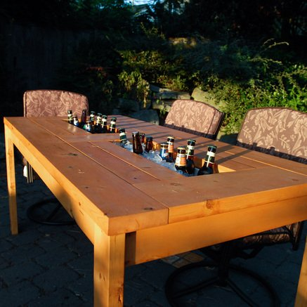 DIY Patio Table with Built-in Beer/Wine Coolers - Domesticated Engineer
