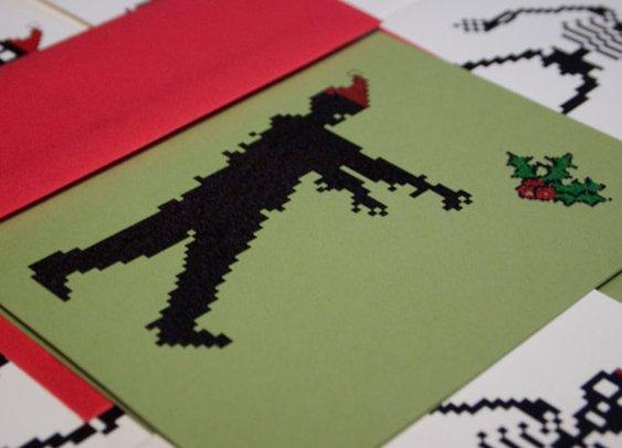 Zombie Santa holiday cards set of 10 8 bit by blackbirdandpeacock