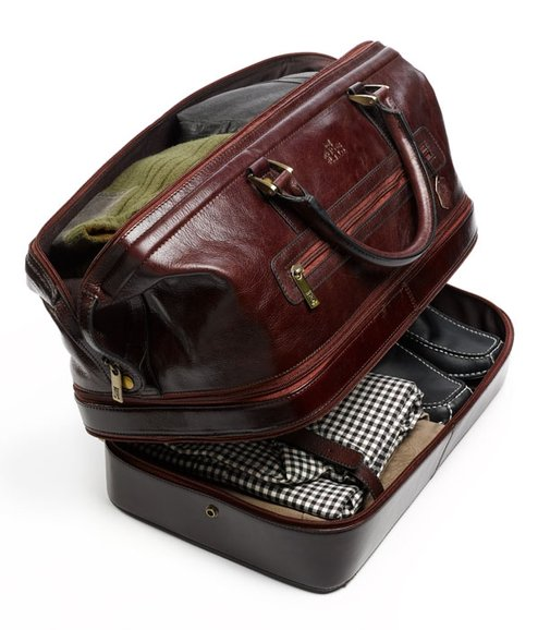 Leather travel duffel