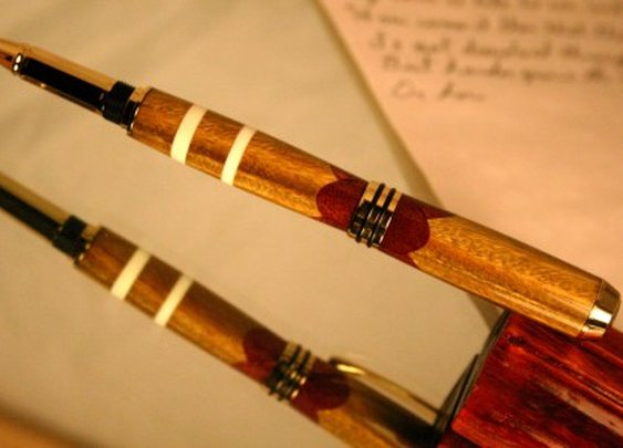 Wood Pen with ivory inlay in Lignum Vitae by Hope & Grace Pens
