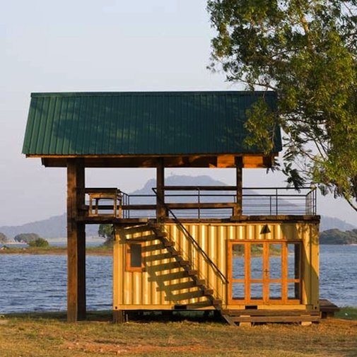 Shipping Container Lake Cabin