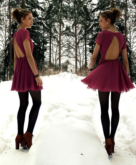 Dress, Bracelet | Robe pourpre (by Petra Karlsson) | LOOKBOOK.nu