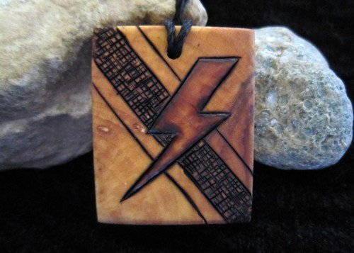 Mens Lightning Bolt Necklace Pendant, Hand Etched Pyrography Mini Art   SepiaTree - Earth Friendly on ArtFire