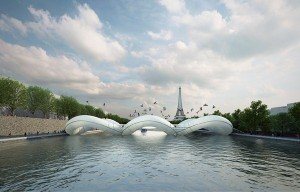 In both air and water-trampoline bridge in Paris