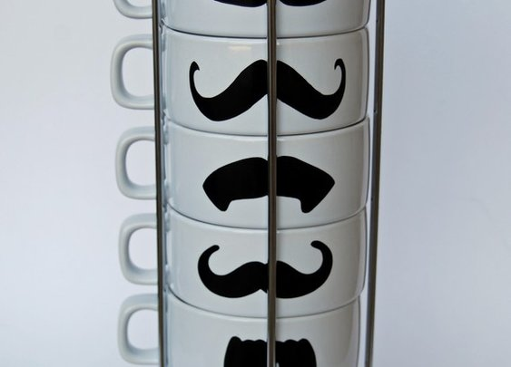 White Mustache Coffee Mugs