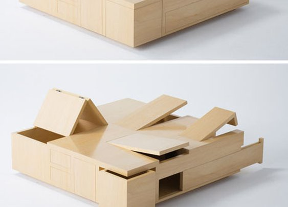 Wooden Table Made Up of Secret Spaces