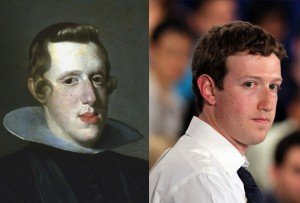 Zuckerberg bears a crazy resemblance to a 17th Century Spanish King, Philip IV - weird no?!!