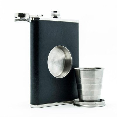 Shot Flask, A Drinking Flask Designed with a Built-In Hidden Shot Glass