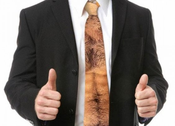 A Hairy Man Chest & Stomach Fashion Tie
