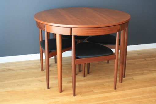 Teak Dining Table With Chairs That Fit Into The Table