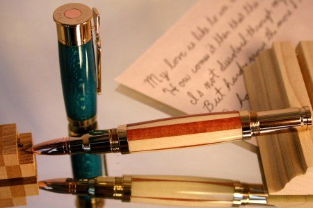 American flag in handcrafted wood bullet shotgun by Hope & Grace Pens