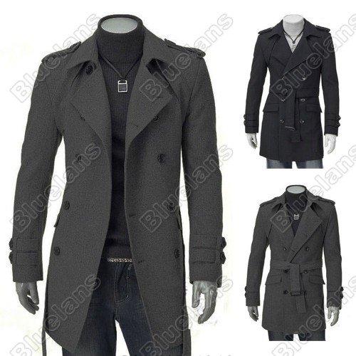 Men's UK Style High Quanlity Stylish Woolen Trench Coat Windcoat Black Grey
