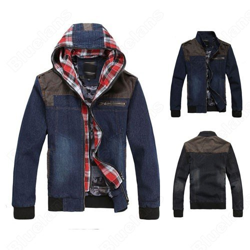 Korean Cool Denim Stand Collar Zipper Up Coat Jacket Outwear Fashion Outwear