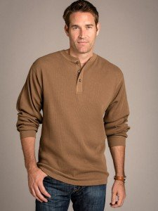 Natural Basix Thermal Henley in Anteloupe