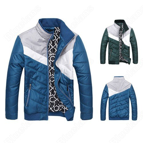 Mens Fashion Vintage Stand Collar Splicing Temperament Cotton Padded Zip Outwear Coat Jacket