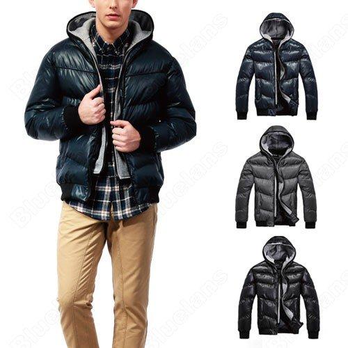 Korean Mens Thin Cotton Padded Hooed Slim Short Pockets Zip Polyester Casual Fashion Outwear Coat Jacket