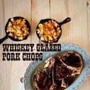 Whiskey-Glazed Pork Chops & Corn Chowder Mac n' Cheese