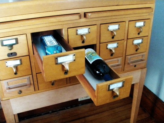 Turning an old card catalog into a liquor cabinet