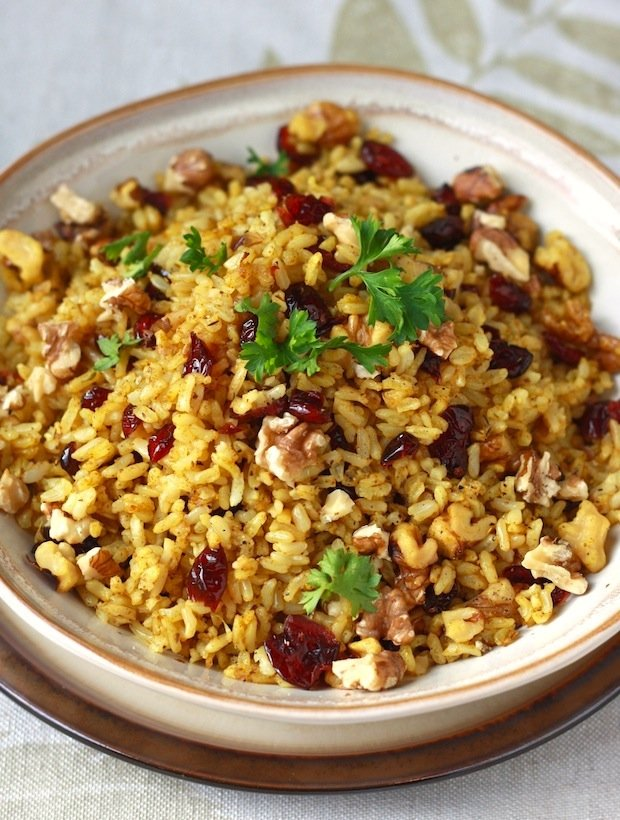 Curried Cranberry Walnut Rice