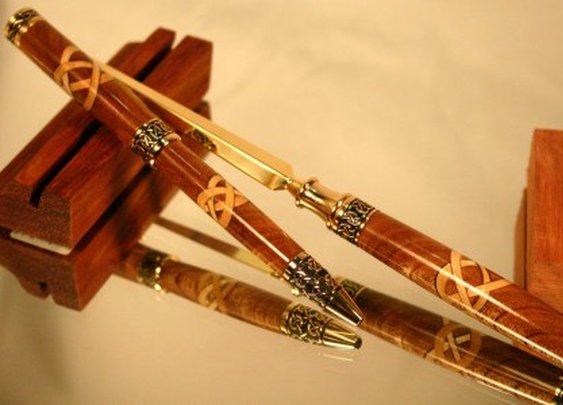 Handcrafted wood Celtic pen letter opener set by Hope & Grace Pens