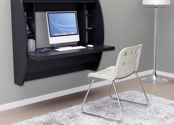 Prepac Floating Desk with Storage - Black - Laptop Computer Desks at Hayneedle